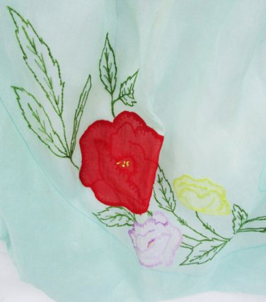 Waist apron semi sheer aqua green flower hand embroidered appliqués red yellow