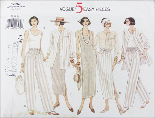 Vogue 1342 misses dress skirt pants jacket sizes 20 22 24 pattern