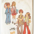 Simplicity 5336 child bell bottom pants vest skirt size 4 unisex pattern 1972 issued