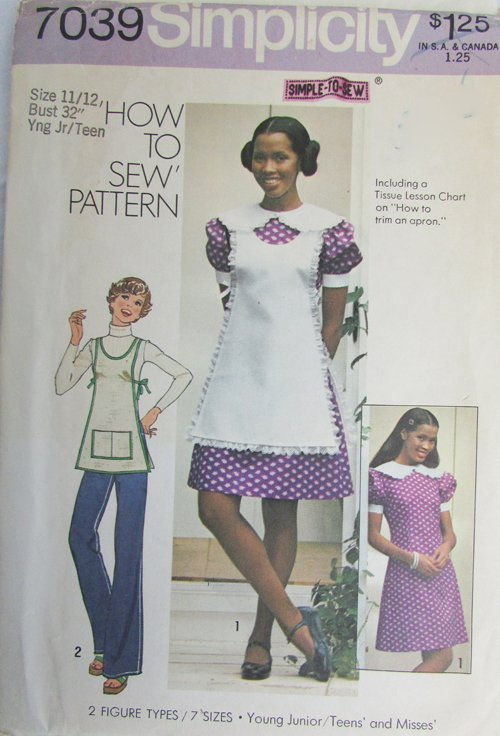 Simplicity 7039 miss dress apron size 11/12 bust 32 UNCUT pattern from 1975