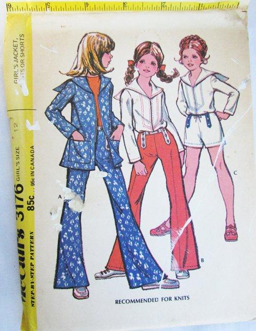 McCall 3176 girls jacket pants sailor color size 12 UNCUT vintage 1972 pattern
