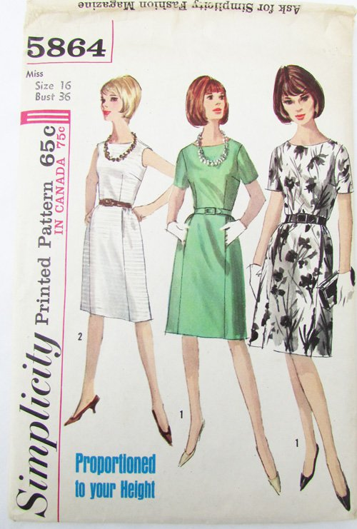 Simplicity 5864 misses dress size 16 B 36 vintage 1965 pattern
