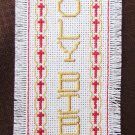 Holy Bible Christian bookmark finished cross stitch completed