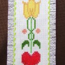 Heart & Flower bookmark finished cross stitch completed