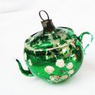 Green teapot or coffee pot vintage Christmas ornament needs help as is
