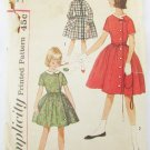 Simplicity 4063 girls vintage dress size 7 off center button full skirt