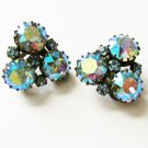 Austria made blue iridescent rhinestone earrings clip style vintage set