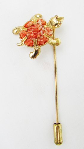 Turtle lapel stick pin orange coral stones gold tone setting jewelry