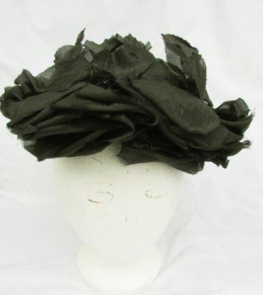 Vintage hat black flowers leaves open mesh base Ethol Hotelling original