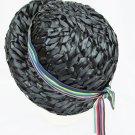 Herbert Bernard vintage navy straw dress hat multi colored band trim