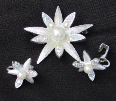 Emmons star flower pin earring set silver tone faux pearls rhinestones