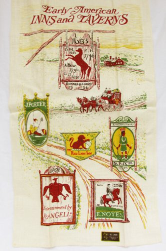 Early American Inns & Taverns tea towel Stevens Linen tag mint shape