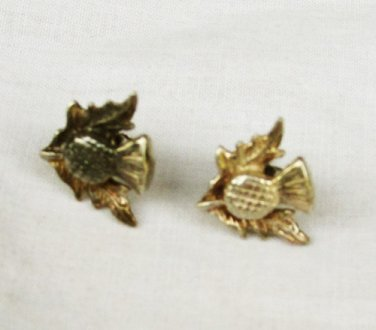 Small thistle and leaf stud earrings silver tone Scottish maybe silverplate