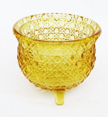 Amber glass diamond & dots 3 footed kettle toothpick holder no wire holder