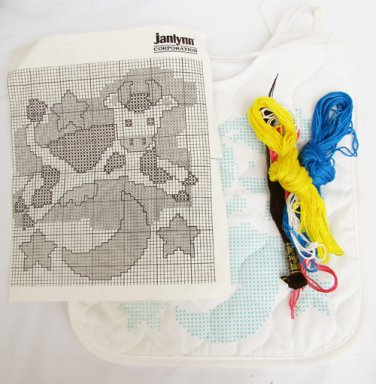 Janlynn kit bib to embroider Cow over the Moon open but good