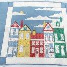 Pillow top fabric Wamsutta row houses homes Georgia Bonesteel design 2 tops