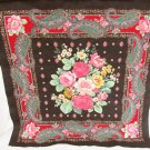 Concord fabric pillow top or quilt block black with large pink cabbage roses