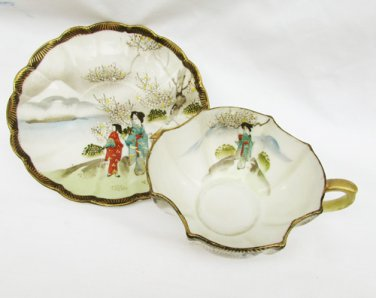 Ardalt Japan cup and saucer Geisha girls hand painted Lenwile China