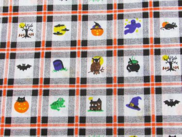 """Halloween fabric pumpkins witches bats squares 44"""" wide firm cotton"""