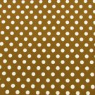 "Cocoa brown with white polka dot fabric 44"" wide for quilting or dress"