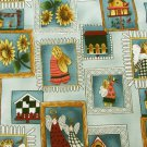 Angel fabric Cotton Pickin Country blue with sunflowers bird houses