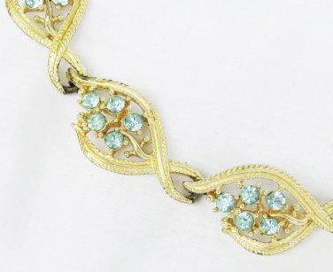 Blue rhinestones gold tone links marked signed STAR vintage necklace choker