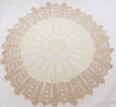 "Hand crocheted circle doily ecru and beige design 14"" diameter"