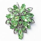 Vintage green rhinestone leaf pin original stones great shape