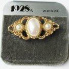 1928 pin pearls in gold tone setting bar type pin new