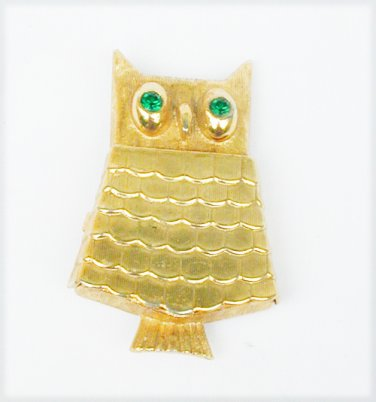 Avon owl locket glace perfume holder green rhinestone eyes gold tone