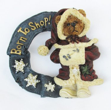 Boyd Bearswear pin Born to Shop Santa bear in wreath