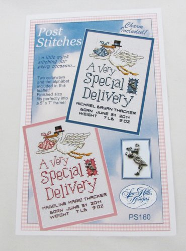 Special delivery baby birth sampler cross stitch pattern with metal stork charm