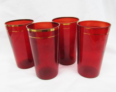 """4 ruby red glass tumblers gold trim tops 4 3/4"""" tall vintage"""