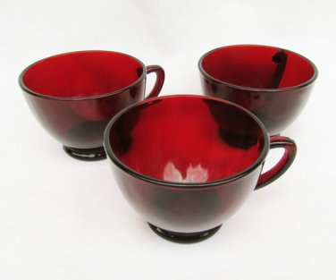 4 Anchor Hocking ruby red tea cups round with handles