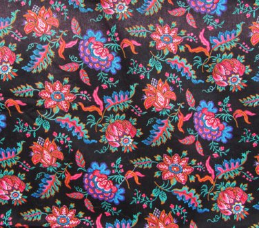 """Cranston Print Works fabric black background red flowers leaves 30 x 44"""""""