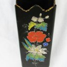 "Black amethyst glass painted enamel flowers footed vase 2 1/2"" x 8"" tall antique"