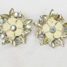 Vintage earrings enamel paint flowers light blue rhinestones silvertone clip on