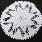"Doily white star hand crocheted 12"" diameter heavy weight cotton"