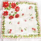 Vintage Christmas handkerchief red poinsettias all cotton Philiippines