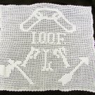 "International Organization of Oddfellows hand crochet doily picture 18x16"" doily"