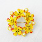 Enamel pin signed ART vintage yellow flowers red trim faux pearls