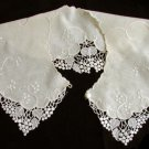 "Linen and lace ladies collar ivory color 5"" wide front button"