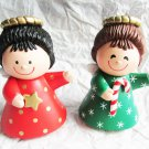 Hallmark Cards Christmas angels salt pepper shakers candy cane star