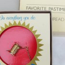 Avon Favorite Pastimes needle thread gold tone lapel pin new in box sewing tax