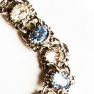 "Bracelet oval blue and clear stones silver tone setting 7"" chunky"