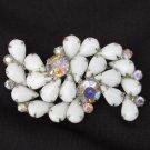 Vintage white pronged stones & iridescent rhinestones pin silver tone setting