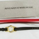 Avon watch & leather band wardrobe black red brown band needs battery with box