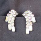 Rhinestone iridescent clip earrings crescent silver tone setting very nice