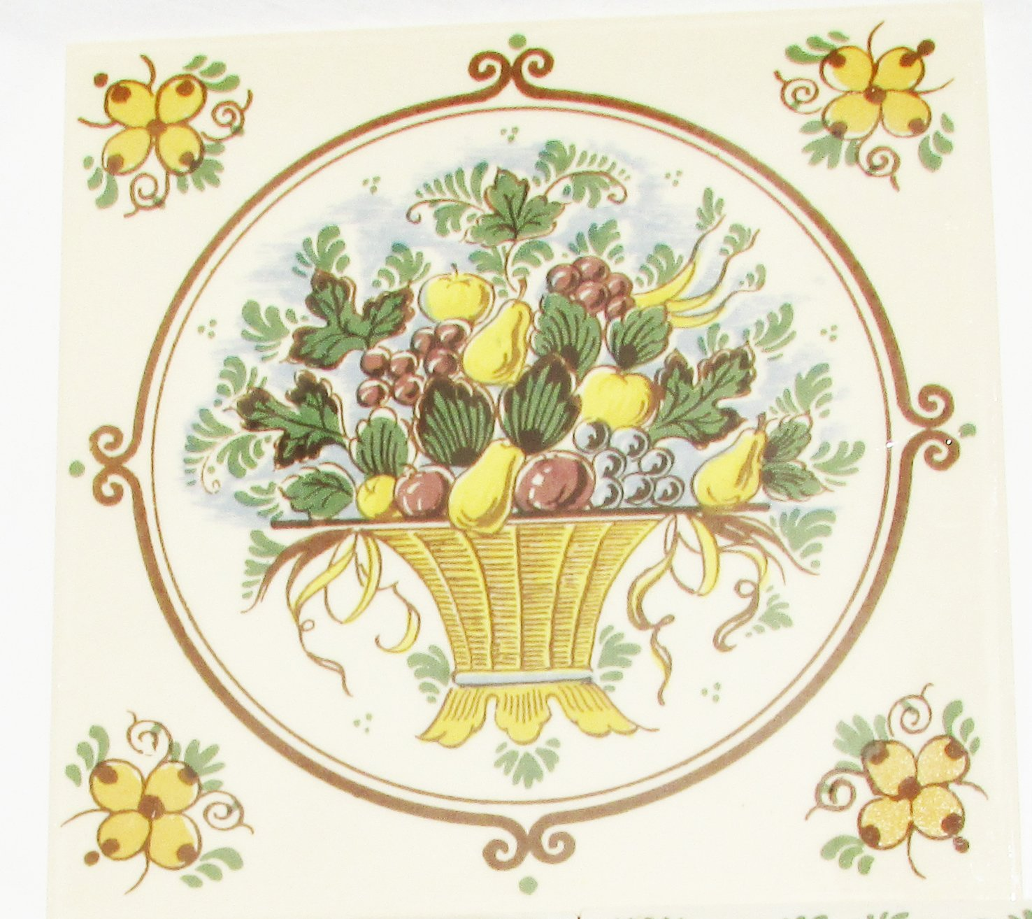 """Delft tile fruit basket full color 6"""" handpainted Dutch Holland"""