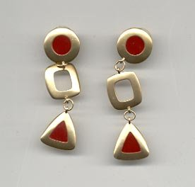 Avon  Fashion Color pierced Earrings- carnelian red